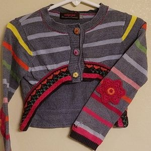 Embroidered Rainbow Floral Cardigan
